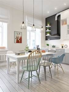 32 more stunning scandinavian dining rooms for Deco cuisine avec chaise salon blanche