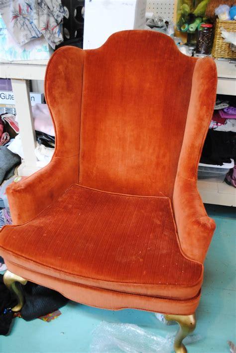 lounge orange velvet wingback chair for charles house