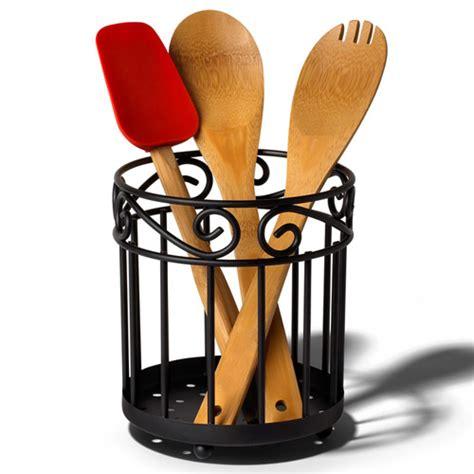 kitchen utensil holder scroll utensil caddy black in kitchen utensil holders 3420
