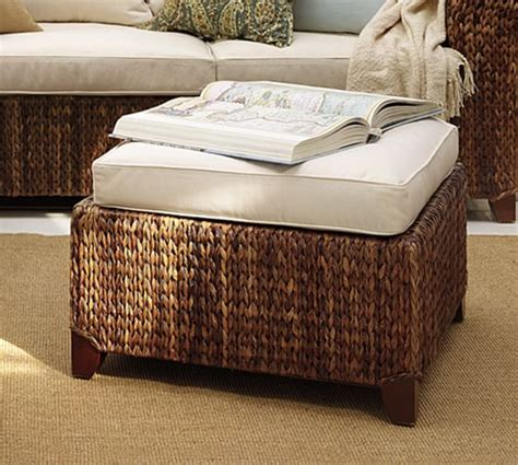 seagrass ottoman storage seagrass sectional ottoman pottery barn