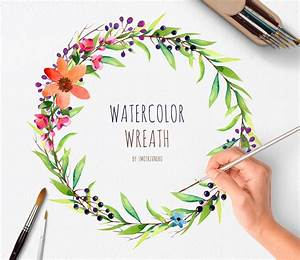 watercolor hand painted wreath1 png individual files wedding With wedding invitation with watercolor leaves and butterflies