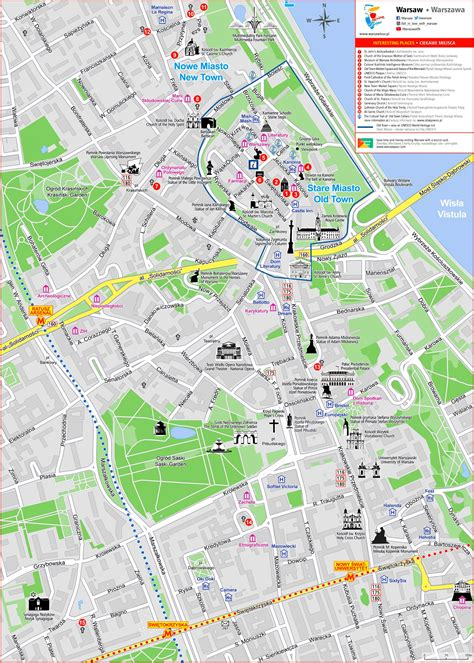 warsaw city center tourist map