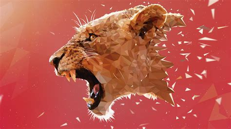 Animal Illustration Wallpaper - general 5120x2880 lions adobe illustrator animals low poly