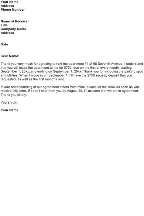 sample letter  rental agreement