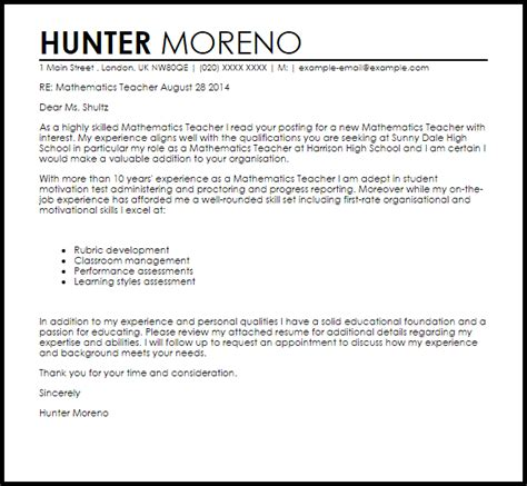 Cover Letter And Resume For Math by Mathematics Cover Letter Sle Letter Sles Livecareer