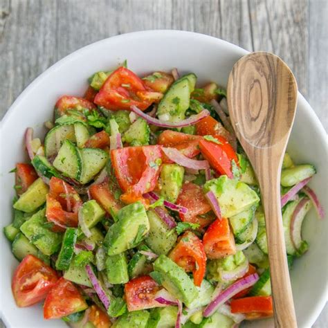 Cucumber Tomato-Onion Cilantro Avocado Salad