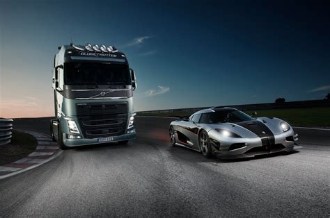 koenigsegg one 1 wallpaper volvo trucks volvo trucks vs koenigsegg a race between