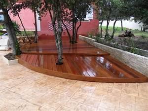 terrasse en parquet ipe exterieur sur lambourdage en bois With parquet de jardin