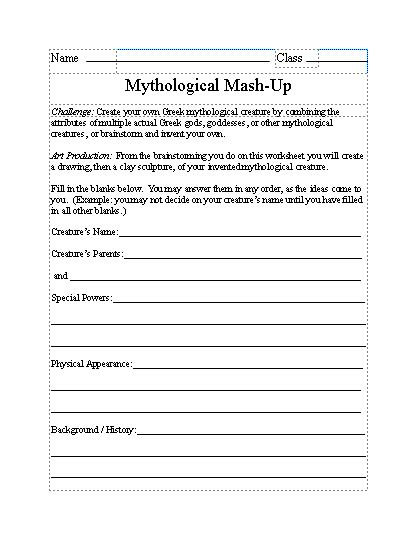 Greek Worksheet Mythological Mash Up  Greek Mythology  Pinterest  Worksheets, Greek And School
