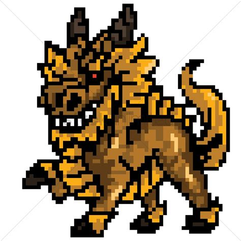 Pixel art mythical dragon Vector Image - 1959437 ...