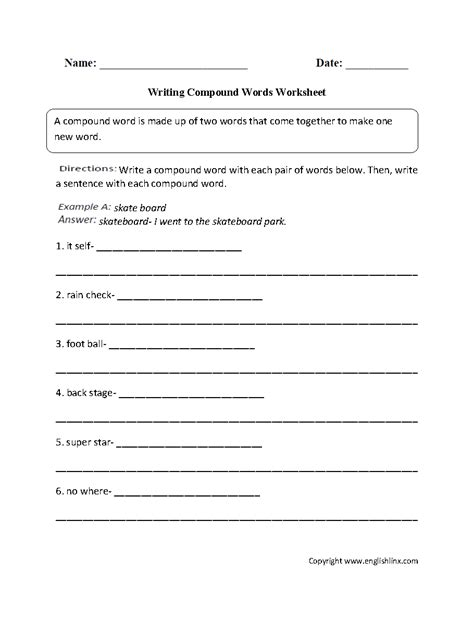 writing compound words worksheet  images compound