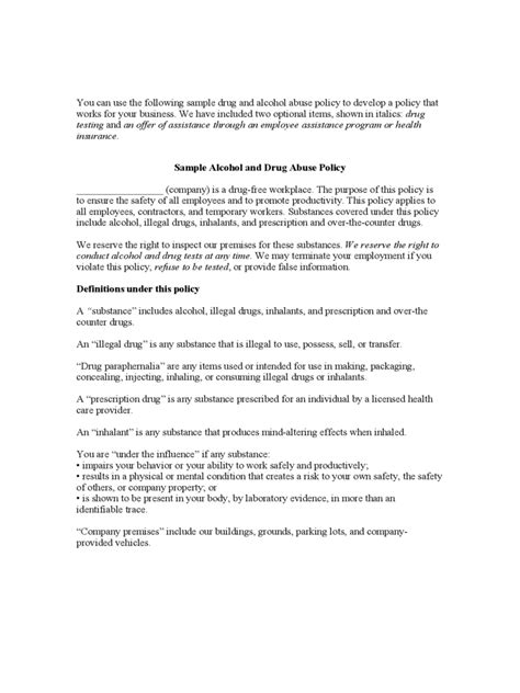 drug and alcohol policy template 2 free templates in pdf