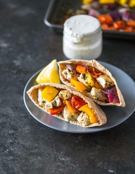 Sheet Pan Greek Chicken & Veggies + Pita Pockets   Gimme ...