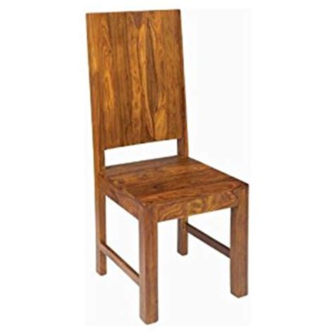 pair of solid sheesham wood high back dining chair cube