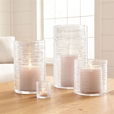 Spin Glass Hurricane Candle Holders/Vases   Crate and Barrel