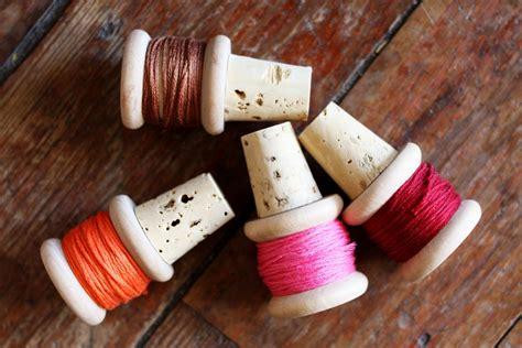 diy thread spool wine corks  beautiful mess