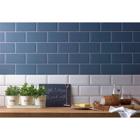 Kitchen Wall Decorating Ideas Pinterest - metro white wall tile 25 pack at homebase co uk