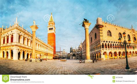 Panoramic View To San Marco Square In Venice Italy Stock