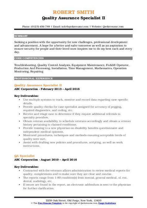 Quality Specialist Resume by Quality Assurance Specialist Resume Sles Qwikresume