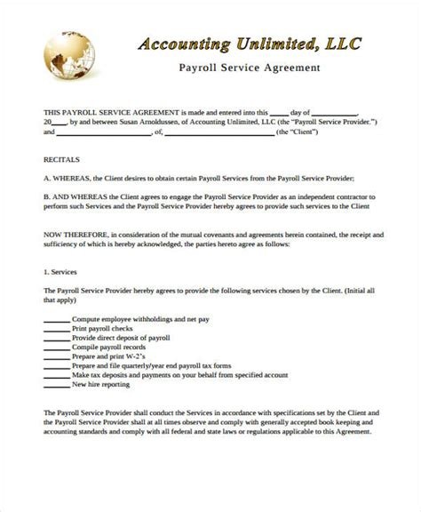 service contract templates word docs pages