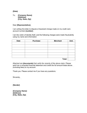 credit dispute letter template pdf credit card charge dispute letter template credit card dispute letter templateidentity theft
