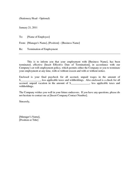 termination letter template formal employee termination notice template sle vatansun 25073
