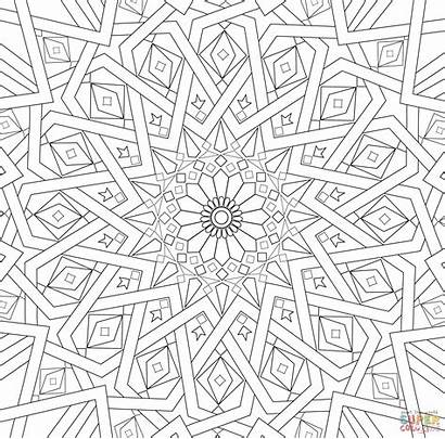 Mosaic Coloring Pages Islamic Patterns Printable Traditional