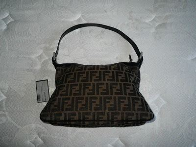 fendi tobacco zucca monogram canvas black leather trim