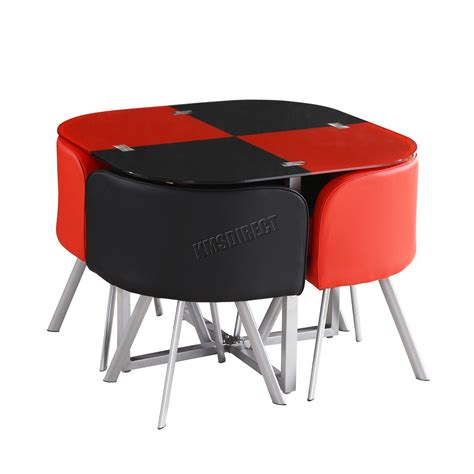 black table red chairs foxhunter glass top dining table with 4 faux leather pu
