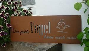 spruch rost tafel der fruhe vogel garten schild metall With französischer balkon mit garten schilder shop