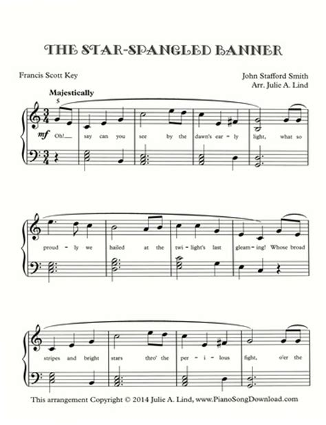 star spangled banner  intermediate piano sheet
