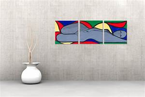 Tableau Coloré Moderne : triptyque abstrait temptation color rectangle tableaux modernes color s nu panoramique ~ Teatrodelosmanantiales.com Idées de Décoration