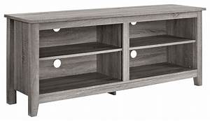 58quot Ash Grey Wood TV Stand Console Beach Style