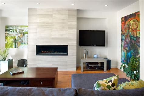 white tile fireplace living room modern with stone square pots
