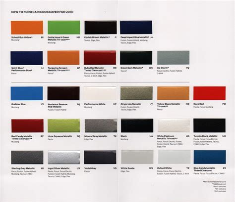2013 ford paint color chart