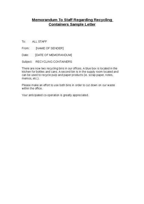 memo letter  employee letters  sample letters
