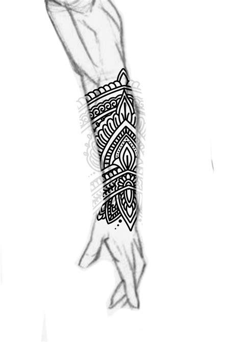 Blackwork forearm sleeve mandala ornamental bold lines