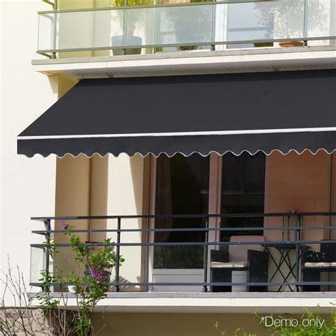 instahut retractable outdoor arm awning    grey buy door window awnings