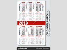 Calendrier de poche Français pour 2019 — Image vectorielle