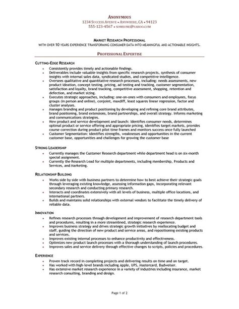 market research manager resume
