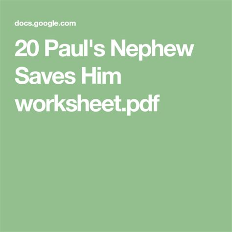pauls nephew saves  worksheetpdf  images