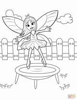 Coloring Trampoline Jumping Fairy Pages Printable Template Sketch sketch template