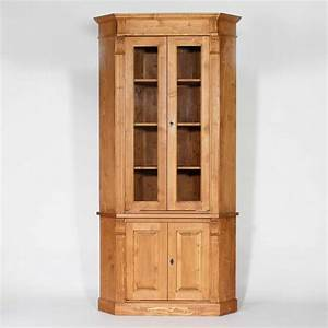 Meuble Angle Bois : buffet d 39 angle bois massif cir miel vitr 4 portes made ~ Edinachiropracticcenter.com Idées de Décoration