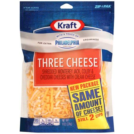 Kraft Shredded Three Cheese With A Touch Of Philadelphia 8