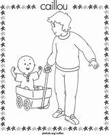 Daddy Caillou Coloring Wagon Pulling Pages Activity sketch template
