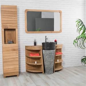 meuble sous vasque simple vasque en bois teck massif With meuble de salle de bain promo