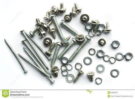 Screws, Bolts, Nails On White Background Stock Photo