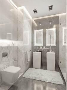 Salle De Bain Marbre Blanc : a vous de trouver la petite salle de bain moderne de vos r ves ~ Nature-et-papiers.com Idées de Décoration