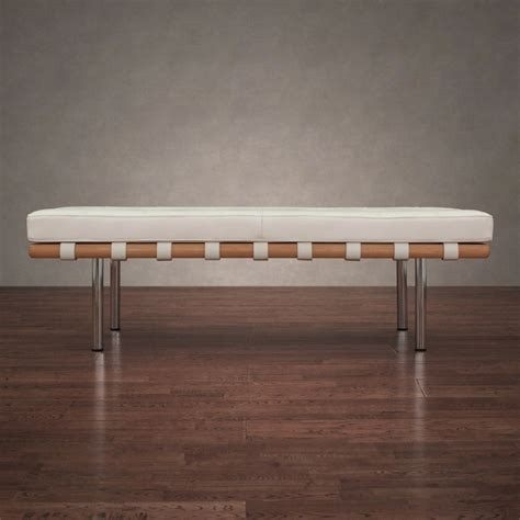 White Entry Way Bench - contemporary bench white leather cushion entryway hallway