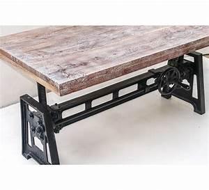 Table Plateau Bois : table basse plateau bois et pied en fonte relevable manivelle 7023 ~ Teatrodelosmanantiales.com Idées de Décoration